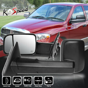 Black powered heated flip Up Towing Mirrors For 02 09 Dodge Ram 1500 2500 3500