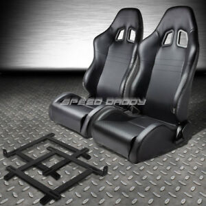 2x Carbon Look Pvc Leather Racing Seat low mount Bracket For 99 04 Ford Mustang