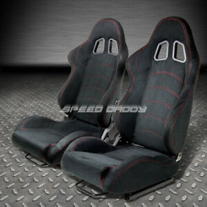 2 X T1 Fully Reclinable Real Suede Racing Seat Seats Slider Black Red Stitches