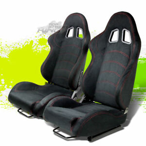 Adjustable Black Suede Leather Red Stitch Bucket Racing Seats Silders Rail Pair