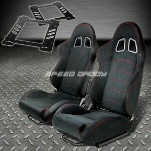 Pair Type 1 Reclining Black Suede Racing Seat Bracket For 92 99 Bmw E36 2 Dr