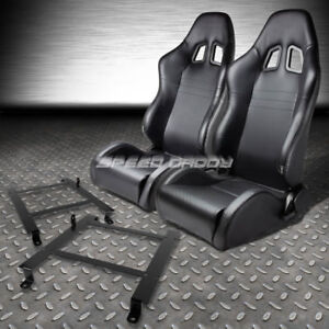 2x Carbon Look Pvc Leather Racing Seats Low Mount Bracket For 97 04 Corvette C5