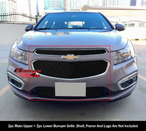 Fits 2015 Chevy Cruze Upper And Lower Black Billet Grille Combo