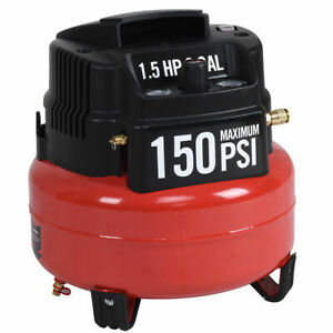 6 Gallon 150 Psi Oil free Pancake Air Compressor 1 5 Hp Motor Portable New