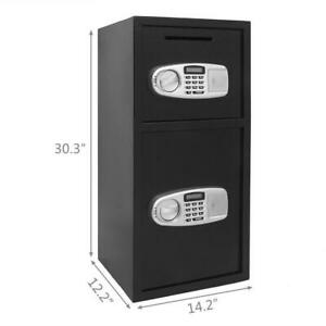New Double Door Cash Office Security Lock Digital Safe Depository Drop Box Us