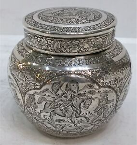 Finely Engraved Antique Silver Tea Caddy Esfehan Qajar Middle East 84 C 1900