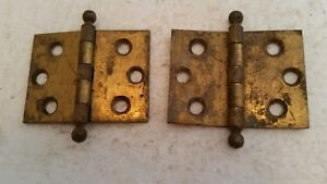 Pair Of Old Vintage Solid Brass Hinges 1 1 2 X 2 213h