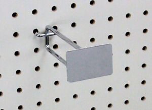 Pegboard Metal Plate Scanner Hooks 6 Display Shop Fixture Chrome Lot Of 100 New