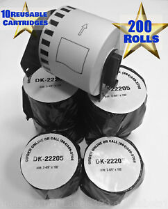200 Rolls Dk2205 White Labels Large Shipping Badges W 10 Free Reusable Frame