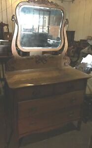 Vintage Antique Wooden Dresser With Mirror Beautiful Movie Prop