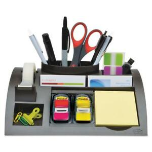 Office Supplies Desktop Organizer Weighted Black Plastic Note Pad Dispenser