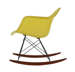 Yellow Mid Century Eames For Herman Miller Fiberglass Rocking Lounge Chair