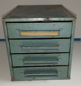 Small Vintag Four Drawer Metal Cabinet Storage For Tools Machinist Chest Style
