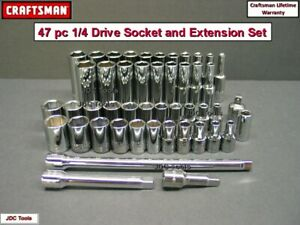 Craftsman Tools 44 Pc Standard And Deep 1 4 Sae Metric Mm 6pt Socket Set 46 45