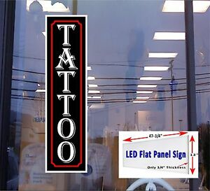 Tattoo Vertical Led Window Sign 48x12 Neon Banner Alternative