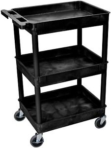 3 Shelf Utility Cart Rolling Storage Wheels Shelves Kitchen Garage Plastic Black