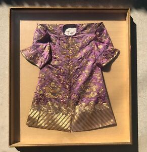 Rare Antique Chinese Imperial Dragon Child S Robe Gold Embroidery Art Wow Framed