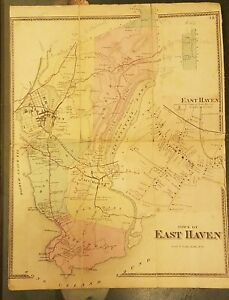Antique Map East Haven Connecticut 1860 S Linen Backed 16 By 12