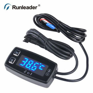 Runleader Led Digital Tm008 Thermometer Voltmeter Temperature Meter For Pit Bike