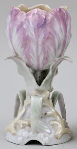 Antique French Old Paris Porcelain Pink Tulip Flower Vase 19th Century Luster