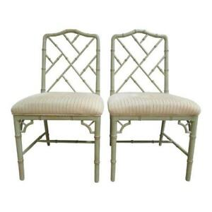 Pair Domain Faux Bamboo Desk Dining Room Chairs A