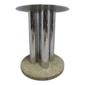Mid Century Chrome And Marble Round Pedestal Dining Table Base