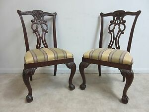 2 Ethan Allen 18th Century Mahogany Chippendale Ball Claw Dining Room Chairs A