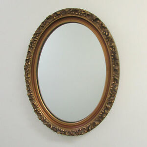 Mirror Large Rococo Gilded Gold Bronze Color Oval Heavy Frame Gorgeous Antique
