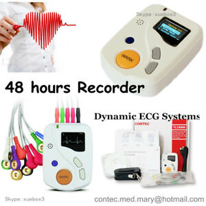 Contec 12 Channel 48 Hours Ecg ekg Holter Recorder Systems Monitor Analyzer Sw