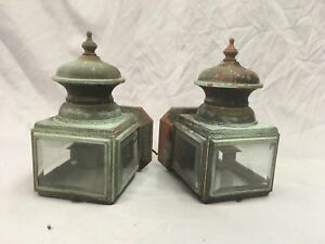 Small Vtg Arts Crafts Copper Porch Sconce Pair Old Lights Beveled Glass 80 18e