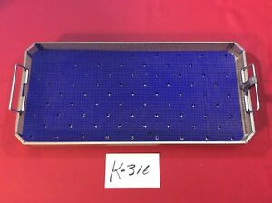 Aesculap Jf222r Instrument Sterilization Tray With Blue Matt Surgical K 316