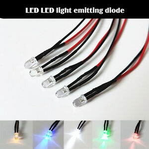 5pcs Flash 3v Emitting Diode Electric Wired Led 5mm Lamp Light 20cm
