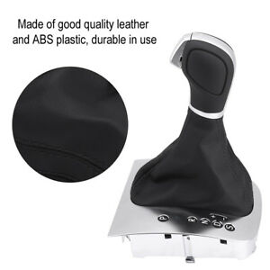 Black Leather Gear Shift Stick Knob Gaiter Boot Cover For Golf 6 Gti 6 2012 2014