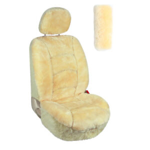 Australian Sheepskin Car Seat Covers Universal With Seatbelt Cover Champagne