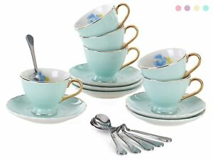Jusalpha Fine China Coffee Bar Espresso Small Cups And Saucers Set Tcs02 3 Oz Of