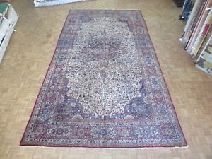 10 1 X 19 5 Hand Knotted Ivory Persian Fine Antique Kerman Oriental Rug G1974