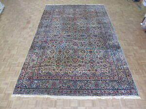 9 7 X 15 Hand Knotted Ivory Persian Fine Antique Kerman Oriental Rug G2851