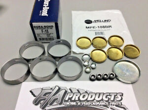Ford 289 302 351w Dura bond F18 Cams Bearings Melling Mpe 108br Brass Plug Kit
