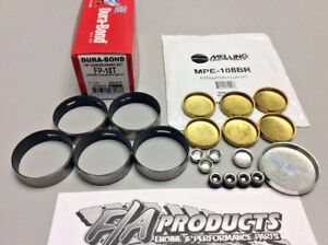 Ford 289 302 351w Dura Bond Fp18t Coated Cam Bearings Mpe 108br Brass Plugs