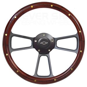 Wood Steering Wheel Black Billet Boss Kit 1981 To 1991 Chevy C K Series Pick Up