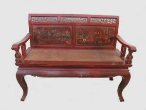 Vintage Chinese Red Wood Wicker Bench 298
