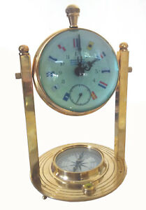 Vintage Nautical Gymballed Mechanical Clock In Antique Brass W Inbuilt Compass