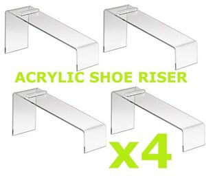 Clear Slanted Shoe Acrylic Riser Display Holder Stand 9 l X 4 w X 7 h Set 4 Pcs