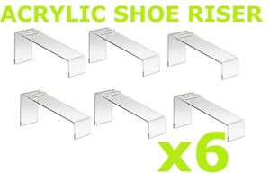 Clear Slanted Shoe Acrylic Riser Display Holder Stand 9 l X 4 w X 7 h Set 6 Pcs