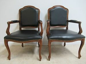 Pair Of Country French Leather Living Room Lounge Arm Chairs C