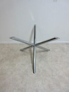 Danish Modern Mid Century Chrome X Base Dining Room Table