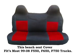 Black Red Mesh Fabric Bench Seat Cover Ford F550 F650 F750 Fit S 99 2008 Truck S