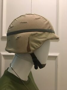 USED US Army PASGT Ballistic Helmet wDesert Camo Cover