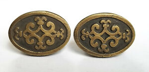 2 Antique Style Ornate Solid Brass Oval Knobs Pulls Cabinet Dresser W Bolts Z14