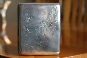 Antique Pre 1926 Russian Silver 84 Cigarette Case Engraved Floral Design